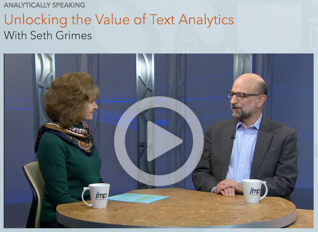 JMP Analytically Speaking: Interview with Seth Grimes