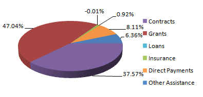 3-D pie chart recreated from data at USAspending.gov, perspective shifted