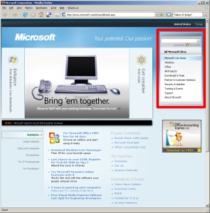 Microsoft Web site, Search area highlighted