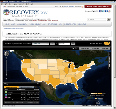 Recovery.gov data-viewing map